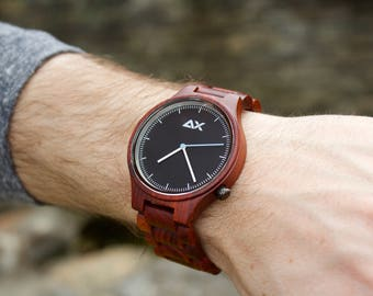 Mens Rosewood Real Wood Watch, Engraved Wooden Watch, Gift for him, Mens Wooden Watch, Wedding Gift, Anniversary Gift, Groomsmen Gift