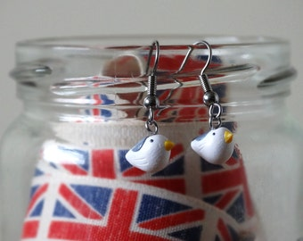 By the Shed Seagull Bird DROP Earrings - Dangle, Hanging Hook - White Grey Black - Seaside, Sea bird, Bird Watching, Screw Back, Clip On