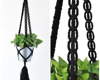 Macrame Plant Hanger // Hanging Plant holder // Black Hanging Planter // Large Plant Hanger // #4 Black