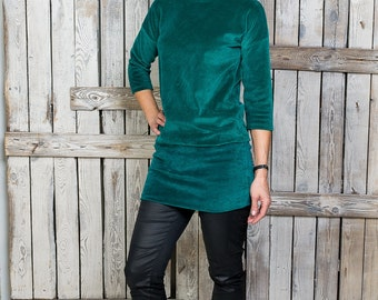 Emerald green velour tunic - Women velvet tunic - Tight green tunic - Women cotton tunic - Plain velvet tunic - Youthful spring tunic