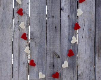 Felt Hearts Garland Valentines White & Red banner Winter Holiday Decor Spring Wedding Garland Home Decor Baby Shower Childrens room