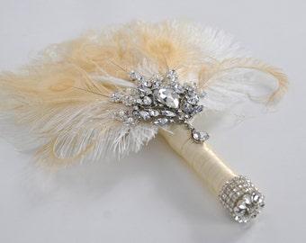 Bridal brooch Bouquet Ostrich alternative Feather Fan Bridal Bouquet Ivory Great Gatsby 1902s chic art deco wedding Roaring 20's  bouquet