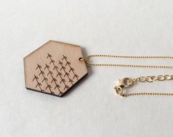 """Hexagon Necklace """"Twigs"""" 