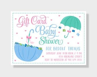Gift Card Baby Shower Invitation, Gender Neutral, Printable Baby Shower Invite, Umbrella Invite, Pink Blue Teal, Baby Sprinkle