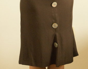 Dark brown silk skirt with vivid buttons