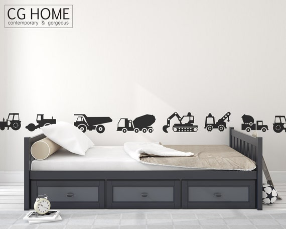 Construction Vehicles Wall Decal CARS Excavator Bulldozer Crane Wall Sticker Vinyl Customized Nursery Decoration express makeover