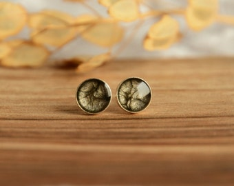 Black and gray ear studs, small metallic hand painted normcore stud earrings, sterling silver 7mm stud posts in jewelry box, black jewelry