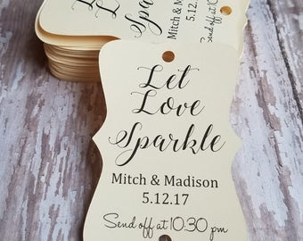 Let Love Sparkle, Sparkler Send off, Wedding Sparkler Send Off, Wedding Reception, Sparkler Tags, Wedding Sparklers, Custom Tag (117)