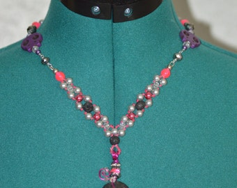 One-of-a-Kind, Handmade Necklace with Pendant - created with beadweaving & wire wrapping techniques