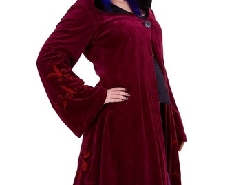 VELVET FAERIE COAT, psy trance clothing, goa pixie cosplay festival clothing, plus size xl xxl faery fae jacket, medieval wizard sleeves