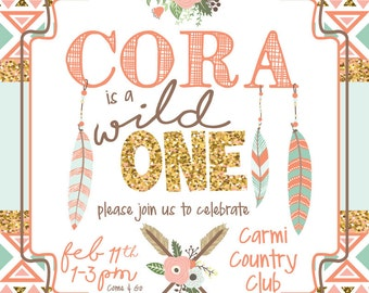 Tribal Wild One Birthday Invitation (DIGITAL COPY)