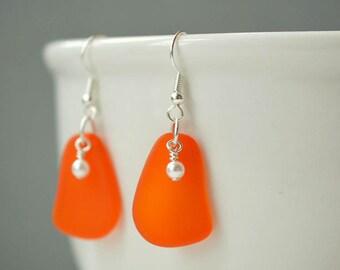 Orange earrings with white pearls orange sea glass earrings seaglass jewelry seaglass earrings sea glass jewelry beach glass summer jewelry
