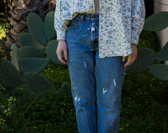 Floral Light Wash Denim Button Up Long Sleeve/Jacket with Contrast Collar