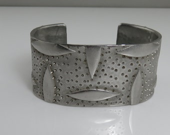 Vintage 60's Modernist Mix Metal Cuff Bracelet.