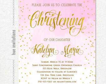 christening invitation girl, pink gold baptism invitation printable, watercolor pink bautizo invitation, lds baptism invitation digital file