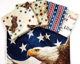 New Stars & Stripes Fat Quarter Bundle / 1 panel; 5 pieces; Northcott - Stonehenge Patriotic Fabric; 4th of July, Memorial Day, Veterans Day