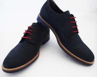 Men Cork Casual Shoes / Oxford shoes / Blue shoes / Men shoes - FREE SHIPPING WORLDWIDE - Vegan Eco-Friendly Gift Idea