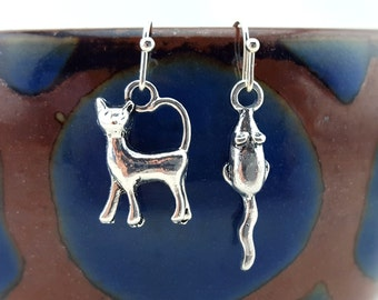 Cat and mouse earrings - cat and mouse jewelry - cat earrings - cat jewelry - mouse earrings - mouse jewelry - mismatched earrings - tiny