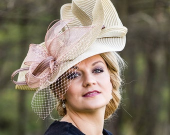 Hat Royal Ascot has ball Hat Kentucky-Derby horse racing has couture millinery Sinamay wedding Fascinator U19