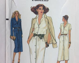 1980's Very Easy Vogue 7291 Misses' Jacket and Dress Sizes 12,14 Uncut