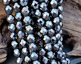 8mm Metallic Hematite Gray Glass Beads Czech Glass CZ325,gray glass beads,faceted grey beads,hematite glass beads,metallic grey beads,
