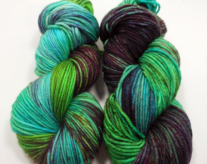 """Featured listing image: Ville: """"Siren"""" Hand Dyed Worsted Aran Superwash Merino Wool Yarn  ~ Variegated Purple Green and Blue Worsted Weight Wool Yarn"""