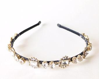 Helene Headband - Rhinestone headband - Womens headband - Adult headband - Regal headband - Frames rhinestones - Mirrors