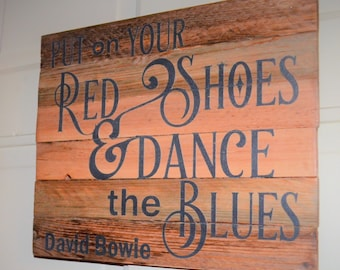 David Bowie song handcrafted on wood with a vintage look in memory of a great singer