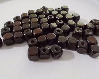 6mm Dark Coffee Brown Wooden Cubes pkg 100