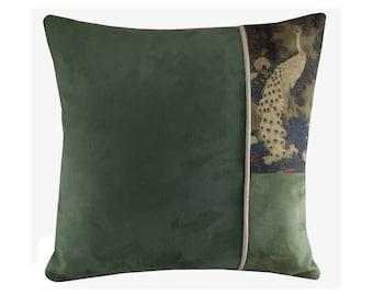 "Peacock Pillow Cover, Bird Cushion Duck Egg Blue, Japanese Oriental Decor, 16x16"""