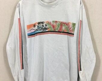 Vintage 80's Ocean Pacific OP Hawaiian Surf Surfing Long Sleeve TShirt Fits like a Medium