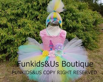 Princess Poppy Tutu Dress-  troll birthday party  themed outfit- Princess Poppy Inspired Tutu - birthday costume, photo prop