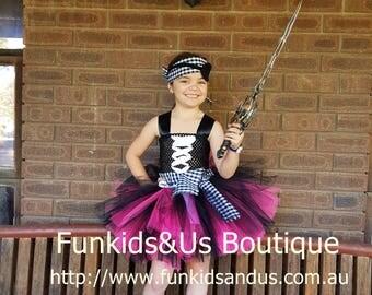 Pirate Tutu Dress- Captain Pirate Tutu Costume - Photo Prop, Birthday Tutu
