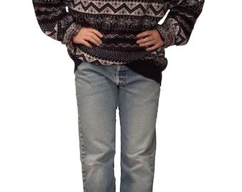 Vintage Tommy Hilfiger Lambswool Scandinavian Sweater Snowflake Design Nordic Sweater Après Ski Sweater Boyfriend Sweater Pullover