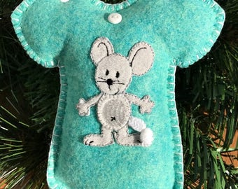 Wool Felt Mouse Onesie Ornament Hanger in Leaping Lizards Teal