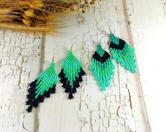 Turquoise jewelry Turquoise earrings Blue earrings Beaded jewelry Fringe earrings Boho earrings Dangle earrings Turquoise gift