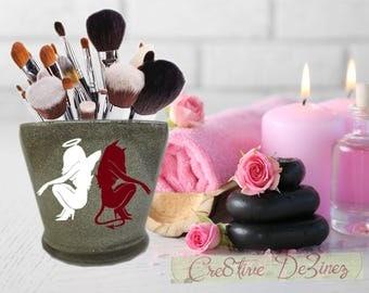 Angel Devil Makeup Brush Holder, Glitter Makeup Brush Holder, Bathroom Decor, Glitter Brush Holder, I Love Makeup Jar, Good vs Evil Makeup