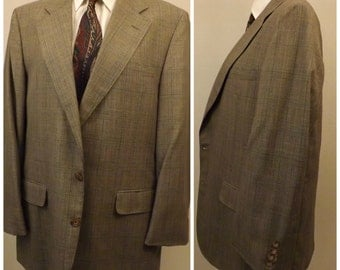 70s Vintage Bill Blass Brown Check Plaid Mens Suit Size 36