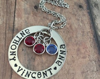 Stamped Mother's Necklace, Personalized Mother's Necklace, Gifts for Mom, Mother's Day Gift, Birthstone Necklace, Gifts for Her, Washer