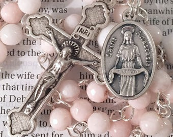 Saint Anastasia Rosary Catholic Rosaries Mary Rosary St Anastasia Rosary Confirmation Gift Saint Rosary Catholic Gift Light Pink