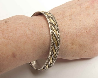 Single Sun and Moon bangle gold and silver Moroccan bangle