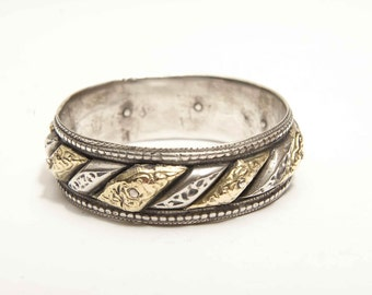 Antique Moroccan gold and silver 'Sun and 'Moon bracelet
