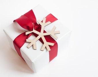 5 x snowflake christmas gift tag plywood laser cut