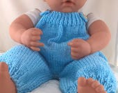 Blue romper for 18inch doll such as Baby Annabell. Hand knit dungarees for 46cm doll. Baby doll clothes.Baby doll outfit. Baby doll overalls