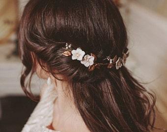 Floral bridal headpiece, romantic pastel headpiece, wedding flower hairpiece, boho bridal hairpiece