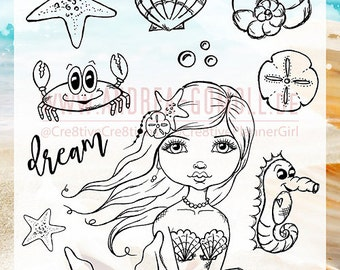 "Clear Stamp Set ""Mermaid"" - perfect to use in your Planners, for Happymail, Cardmaking, Artjournaling etc. - whimsical Illustration"