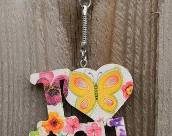 I love you key ring, Wooden decoupaged keyring, Romantic keychain