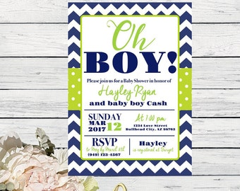 Oh Boy! Baby Shower Invite-White, Navy Blue & Lime Green ***Digital File*** (Baby-LimeNavy)