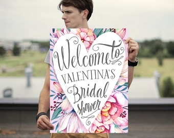 Bridal Shower Welcome Sign - Bridal Shower Sign - Printed Bridal Shower Sign - Heart Magnolias