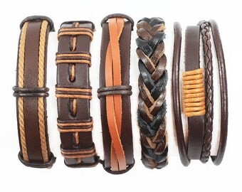 5 Piece Handmade Leather Bracelet Set Mens Womens Braided Wrap Braclet  5P-184-A